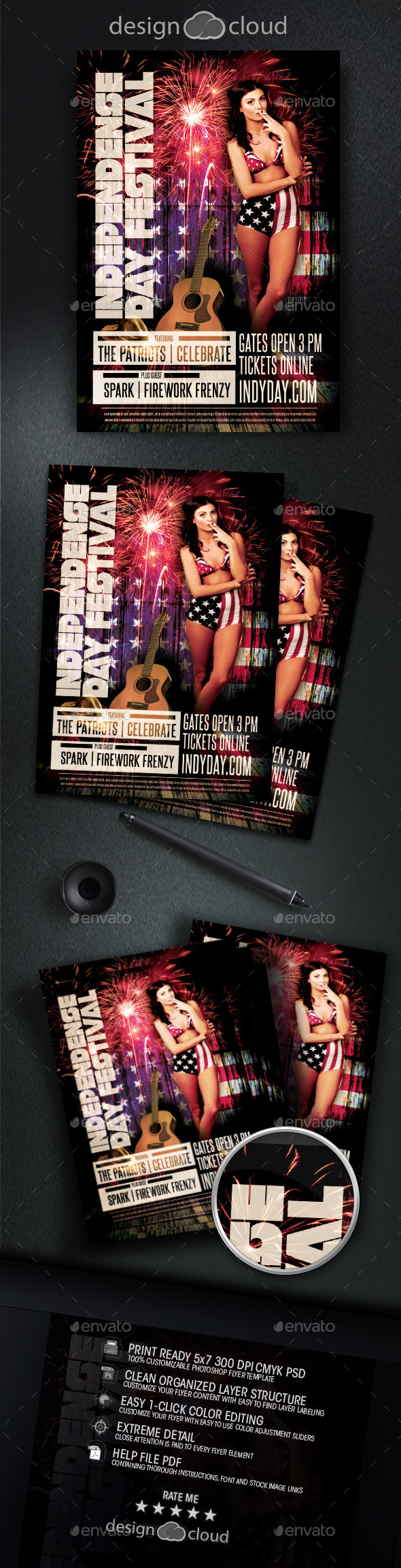 Independence Day - July 4 Flyer Template - Holidays Events