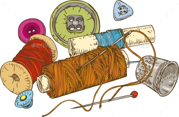 Three Color Spools Of Thread with Buttons - Backgrounds Decorative