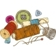Three Color Spools Of Thread with Buttons - GraphicRiver Item for Sale