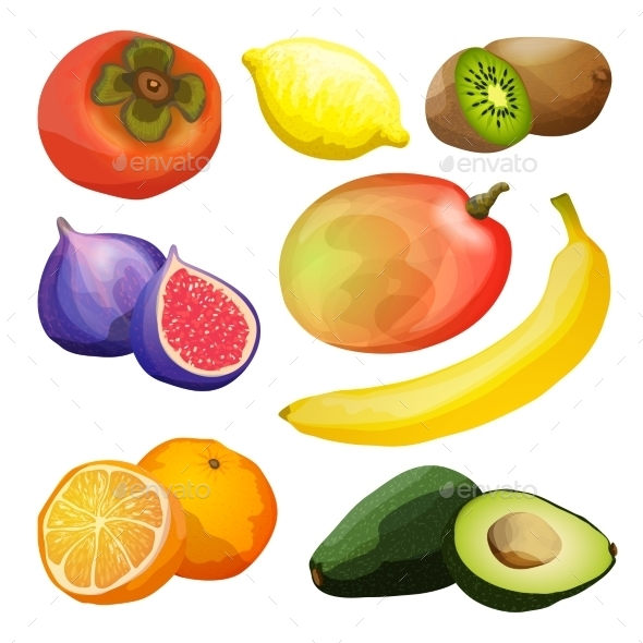 Exotic Fruits Set - Food Objects