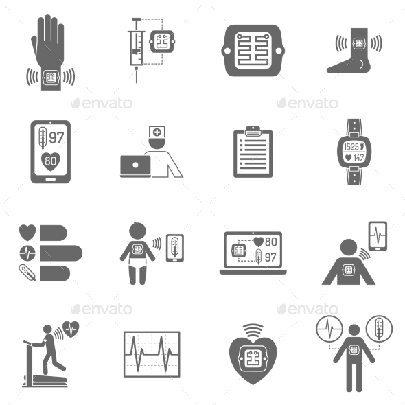 Wearable Smart Electronic Patch Flat Icons - Miscellaneous Icons