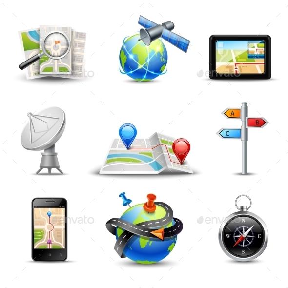 Realistic Navigation Icons - Travel Conceptual