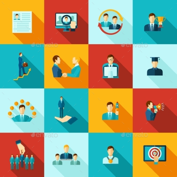 Career Flat Icons Set - Concepts Business