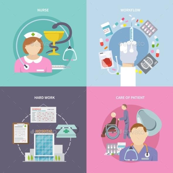 Nurse Flat Set - Health/Medicine Conceptual