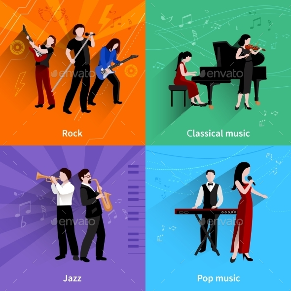 Musicians Flat Set - People Characters