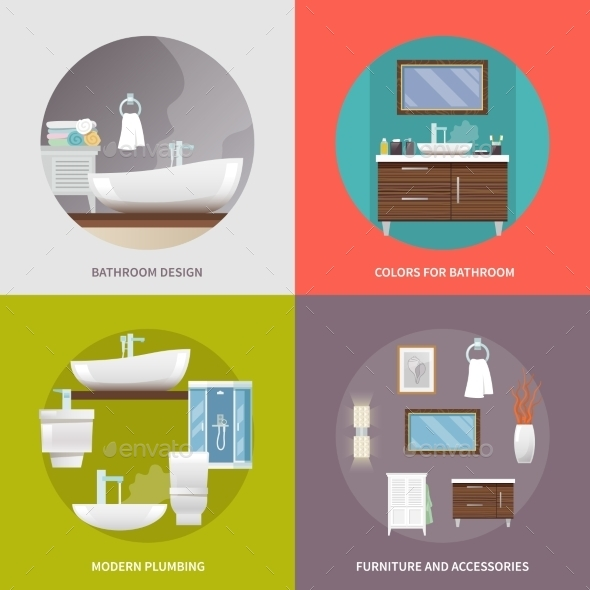 Bathroom Furniture Flat Icons - Objects Vectors