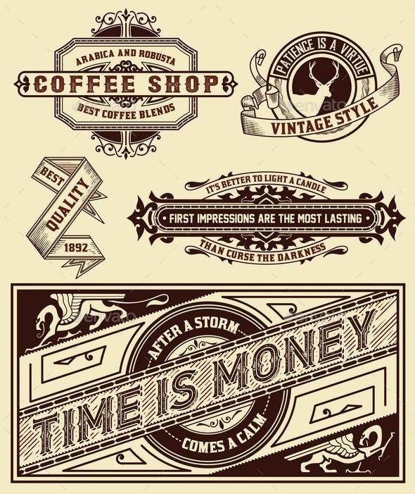 Set of retro designs.  - Backgrounds Decorative