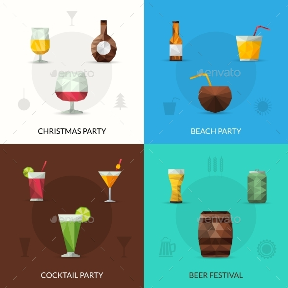 Drinks Polygonal Set - Food Objects