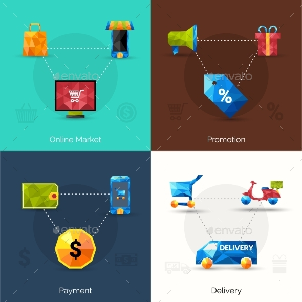E-commerce Polygonal Icons - Retail Commercial / Shopping