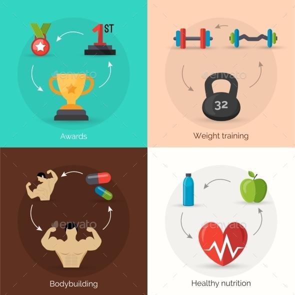 Bodybuilding Flat Set - Sports/Activity Conceptual