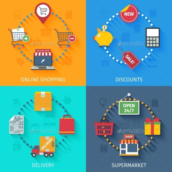 Shopping Concept Icons Set - Services Commercial / Shopping