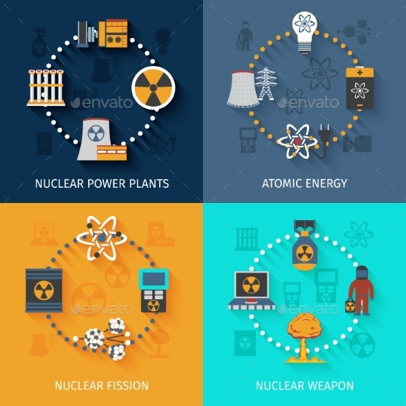 Nuclear Energy 4 Flat Icons Composition - Technology Conceptual