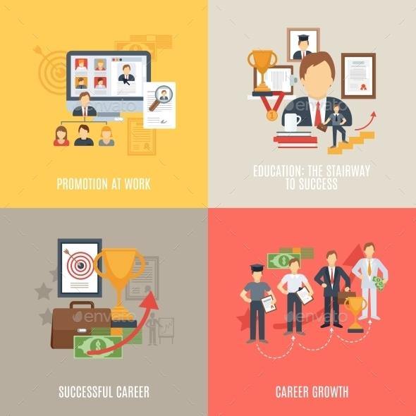 Flat Career Set - Business Conceptual
