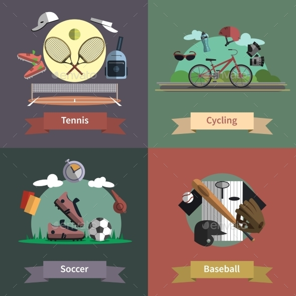 Sport 4 Flat Icons Composition Banner - Sports/Activity Conceptual