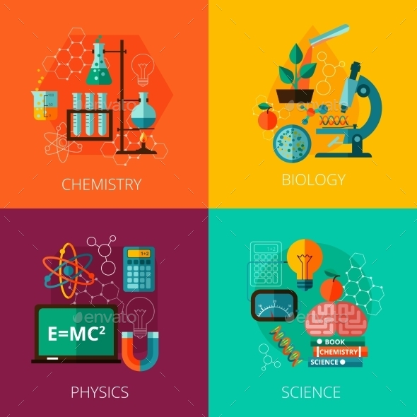Science Concept 4 Flat Icon Composition Icons  - Miscellaneous Vectors