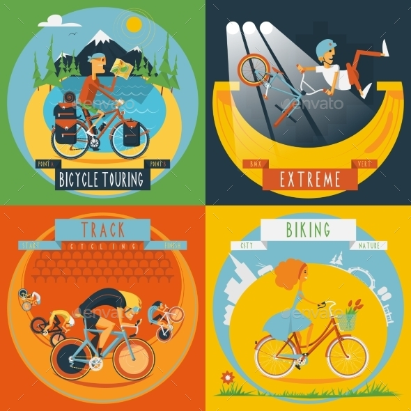 Cycling 4 Flat Icons Banner  - Sports/Activity Conceptual