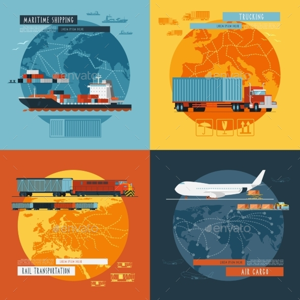 Logistic4 Flat Icons Banner - Business Conceptual