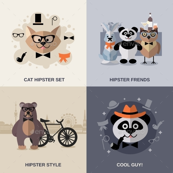 Animal Hipster Set - Animals Characters