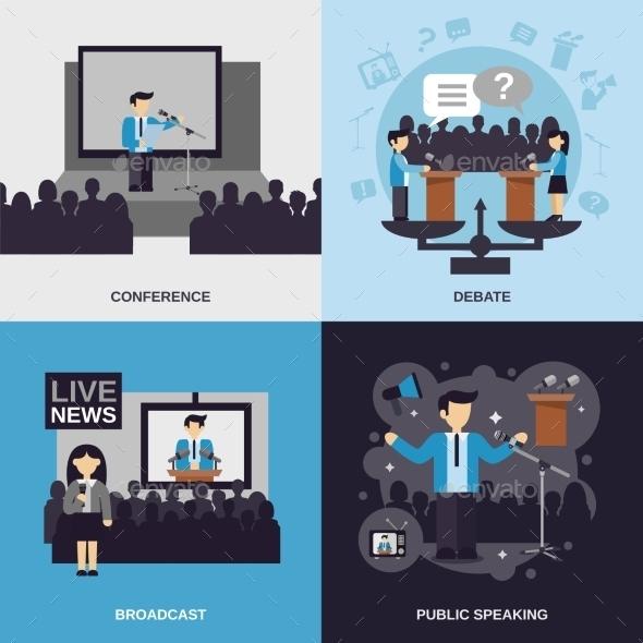 Public Speaking Flat Set - Business Conceptual