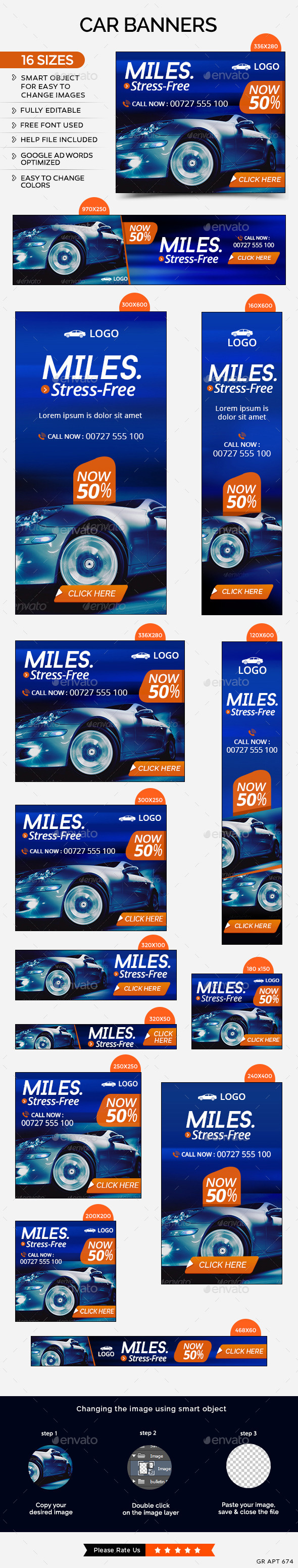 Car Sale Banners - Banners & Ads Web Elements