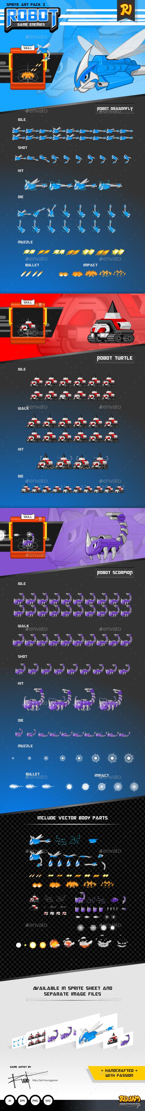 Robot Game Enemies Sprite Art Pack 3 - Sprites Game Assets