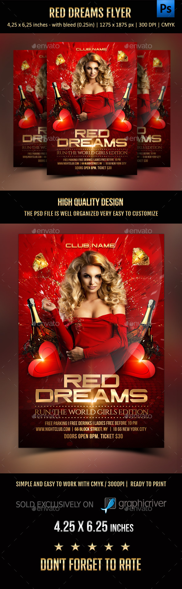 Red Dreams Flyer - Clubs & Parties Events