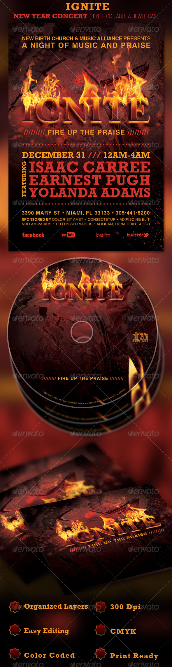 Ignite Church Flyer and CD Template - Church Flyers