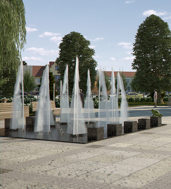 Modern Fountain with Textured Water Splash - 3DOcean Item for Sale