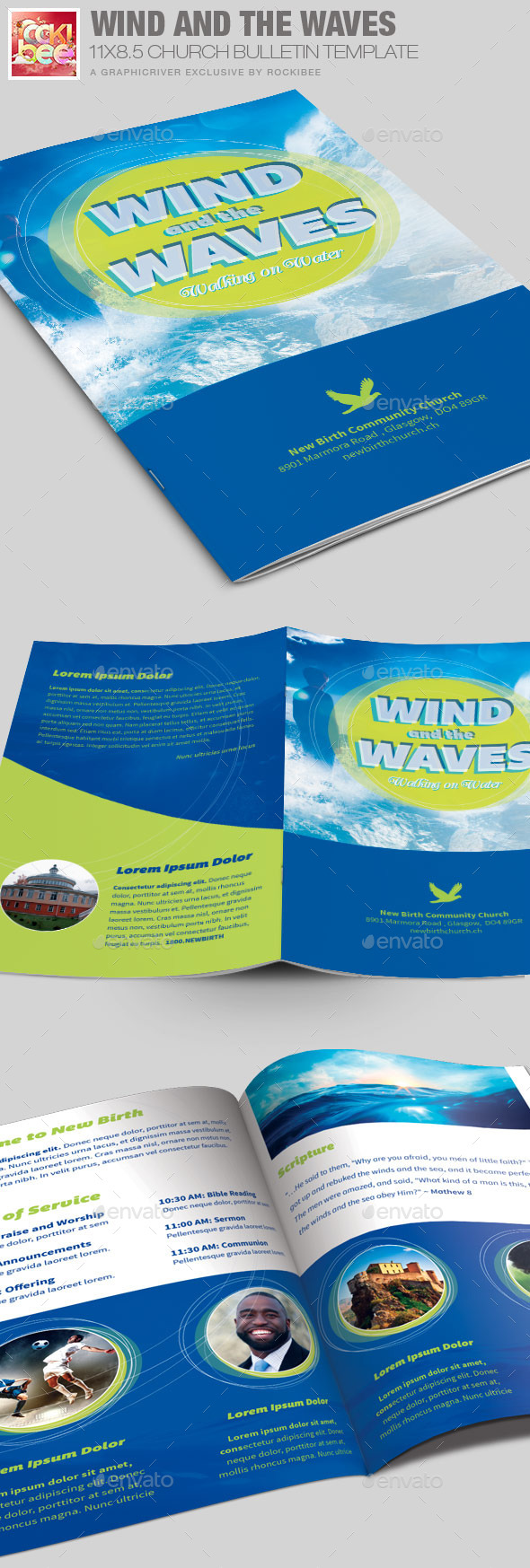 Wind and the  Waves Church Bulletin Template - Informational Brochures