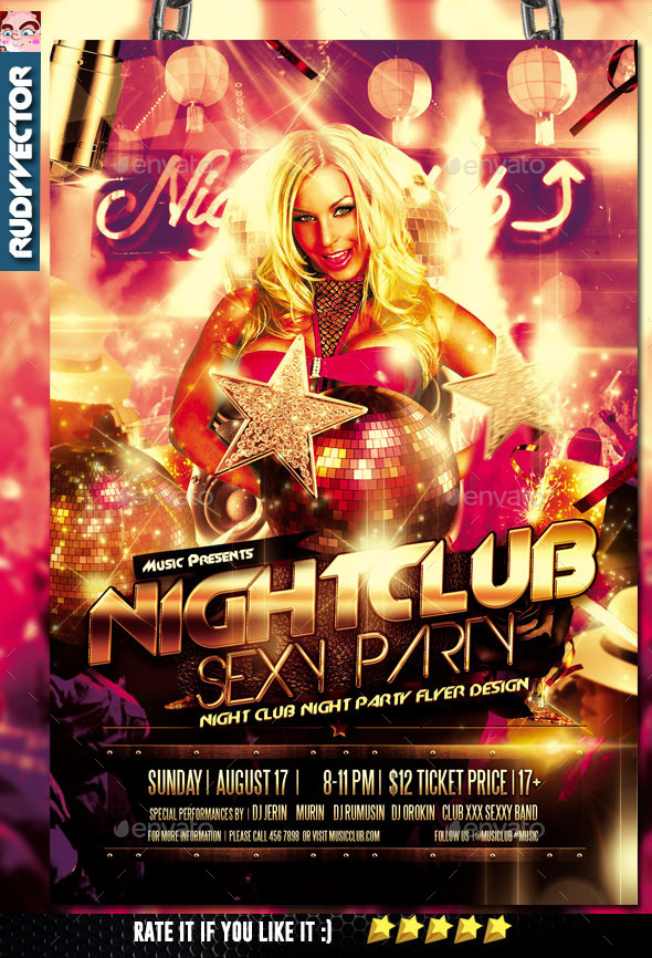 Night Club Sexy Party Flyer - Clubs & Parties Events