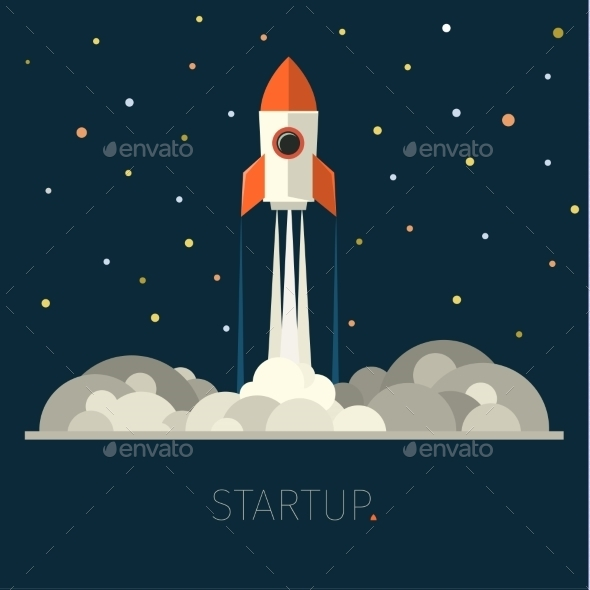 Concept Of Start Up Rocket In Sky - Business Conceptual