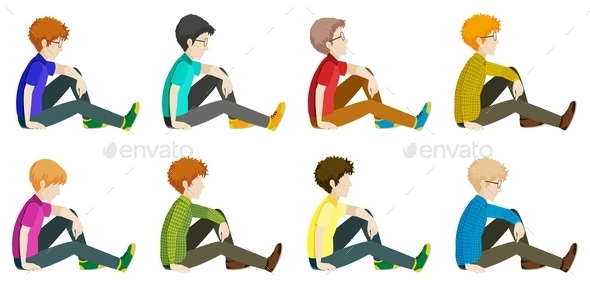 Faceless Men Sitting Down - People Characters