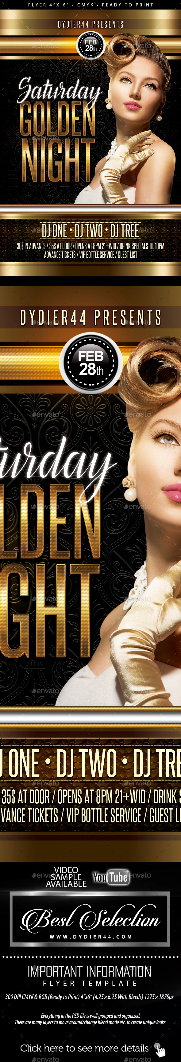 Saturday Golden Nights (Flyer Template 4x6) - Clubs & Parties Events