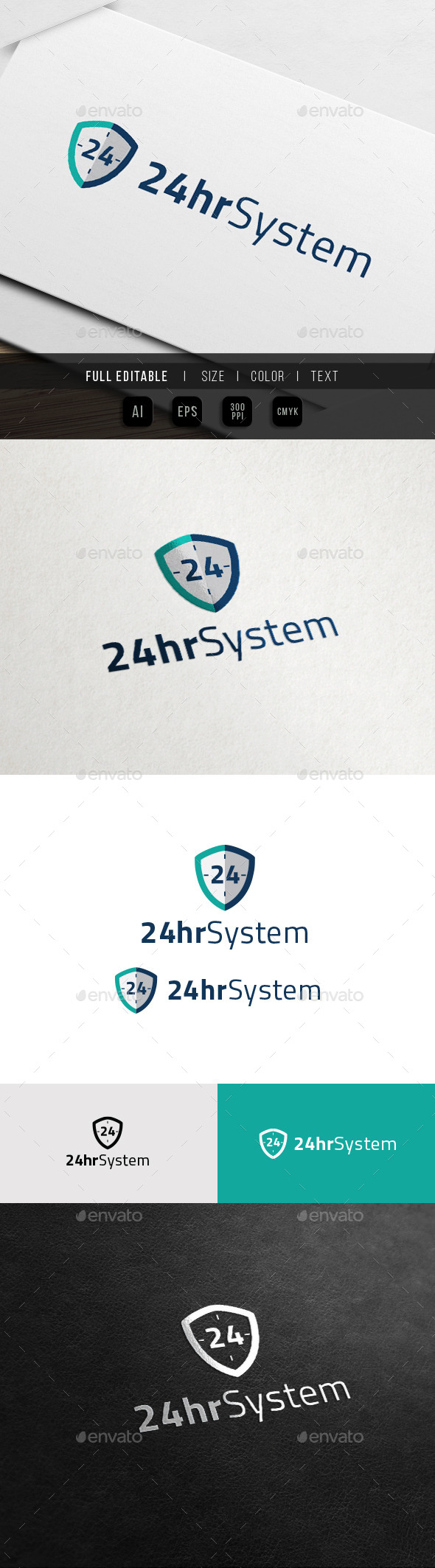 24 Hour Protection - 24 Shield - Numbers Logo Templates