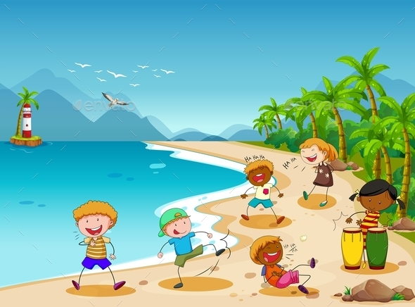 Children and Beach - People Characters
