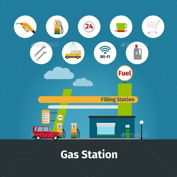 Gas Station With Flat Icons - Miscellaneous Vectors