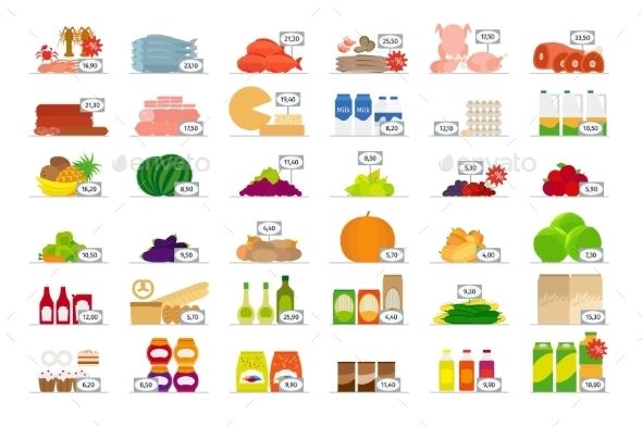 Food Market Flat Icons - Food Objects
