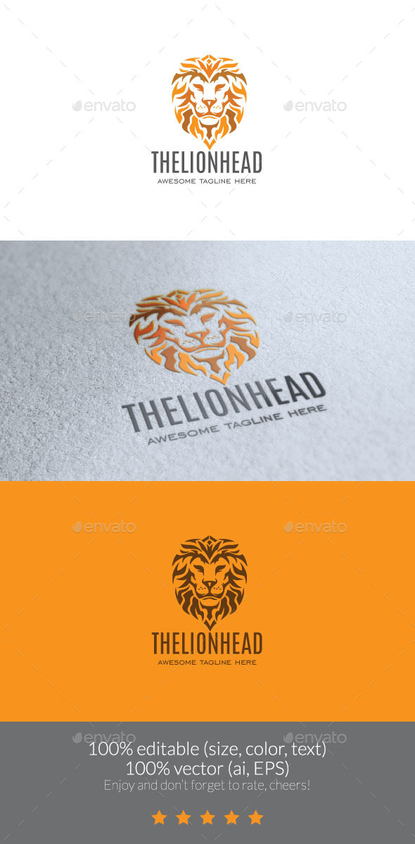 The Lion Head Logo - Animals Logo Templates