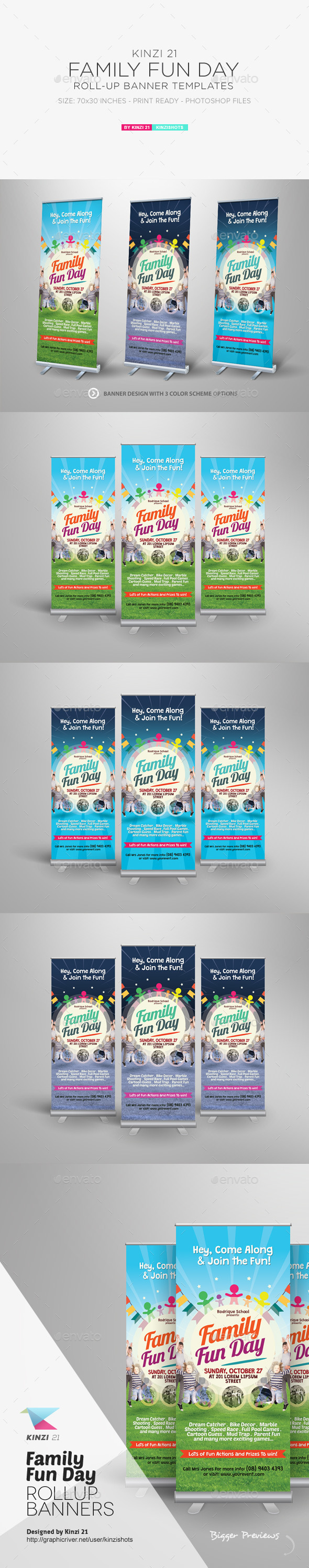 Family Fun Day Roll-up Banners - Signage Print Templates