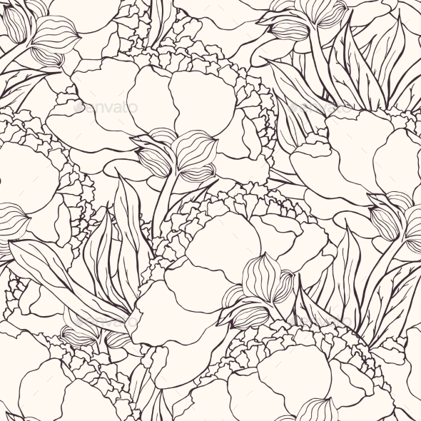Seamless Pattern With Hand Drawn Doodle Flowers - Flowers & Plants Nature