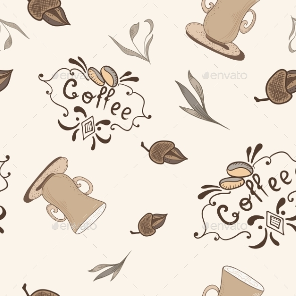 Vector Coffe Pattern In Sketch Style - Patterns Decorative