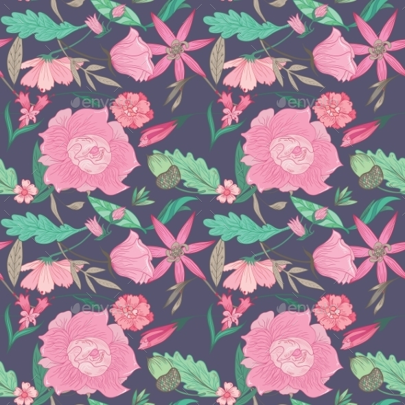 Summer Floral Pattern On Indigo Background - Flowers & Plants Nature