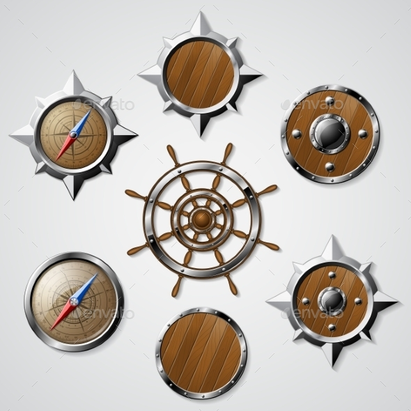 Set Of Steel And Wooden Nautical Elements - Objects Vectors
