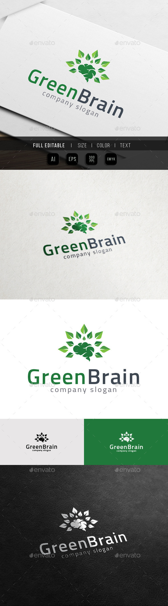 Big Thinker - Green Brain - Nature Knowledge Logo - Objects Logo Templates