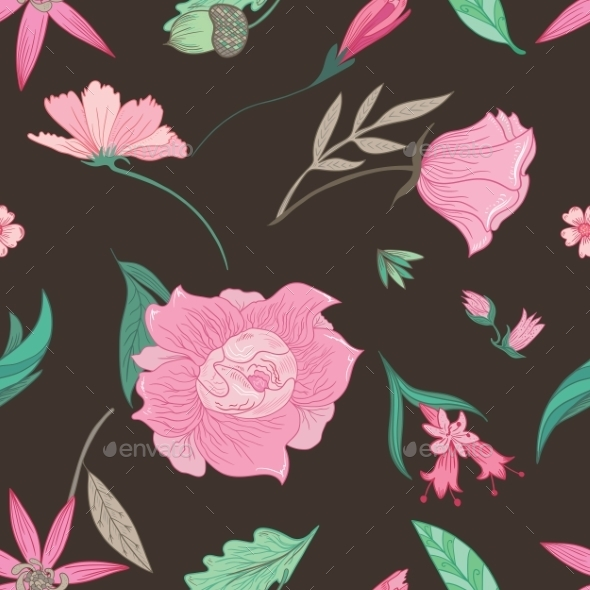 Summer Floral Pattern On Brown Background - Flowers & Plants Nature