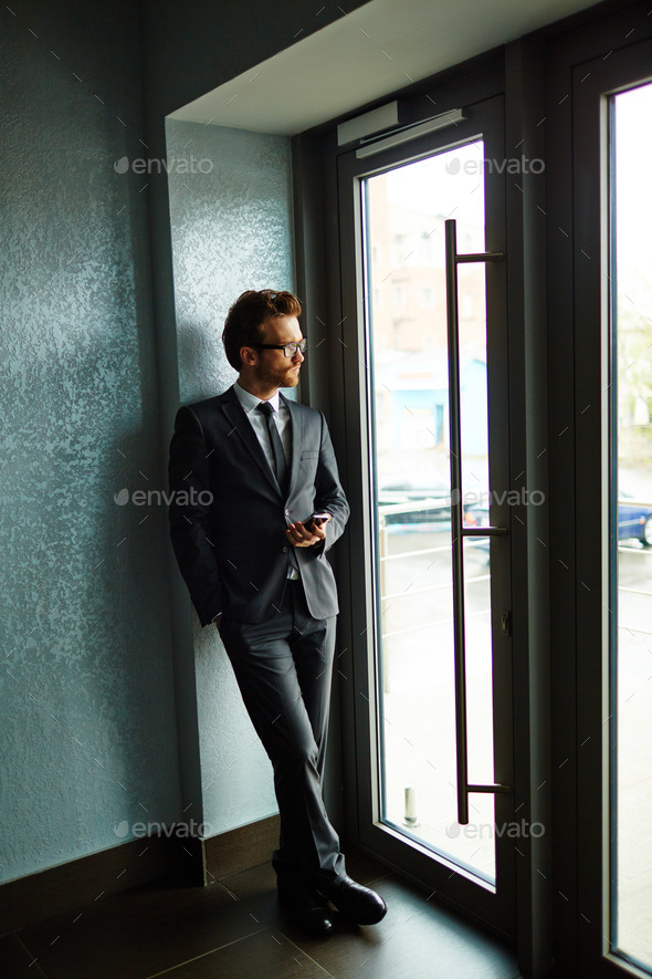 Entrepreneur by the door - Stock Photo - Images