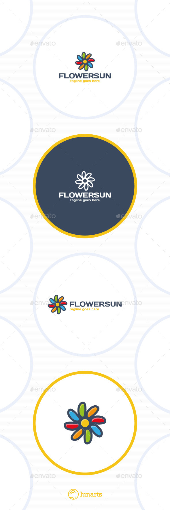 Color Flower Sun Logo - Nature Logo Templates