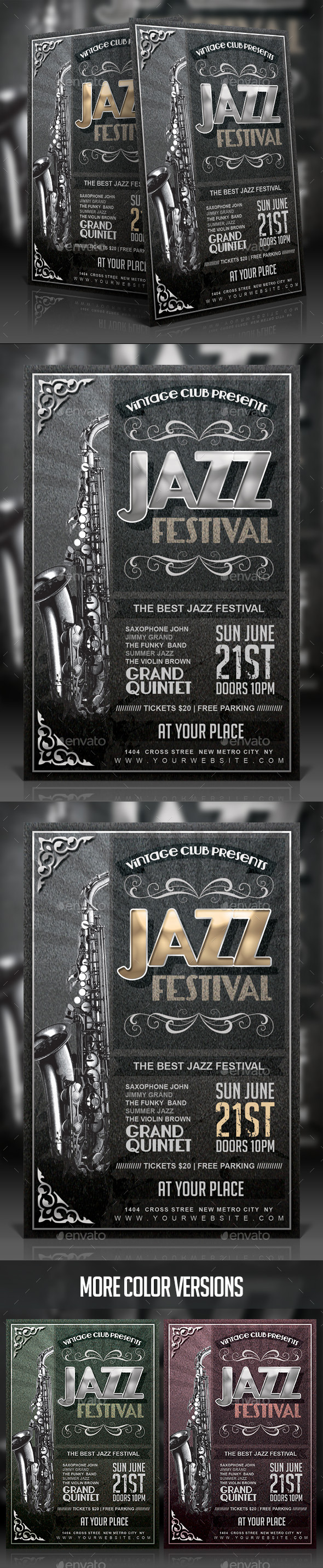 Vintage Jazz Festival Flyer - Events Flyers