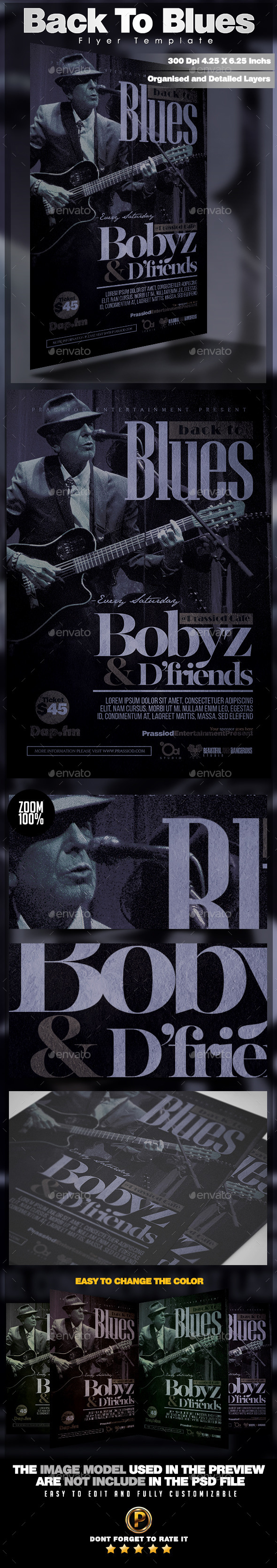 Back To Blues Flyer Template - Clubs & Parties Events