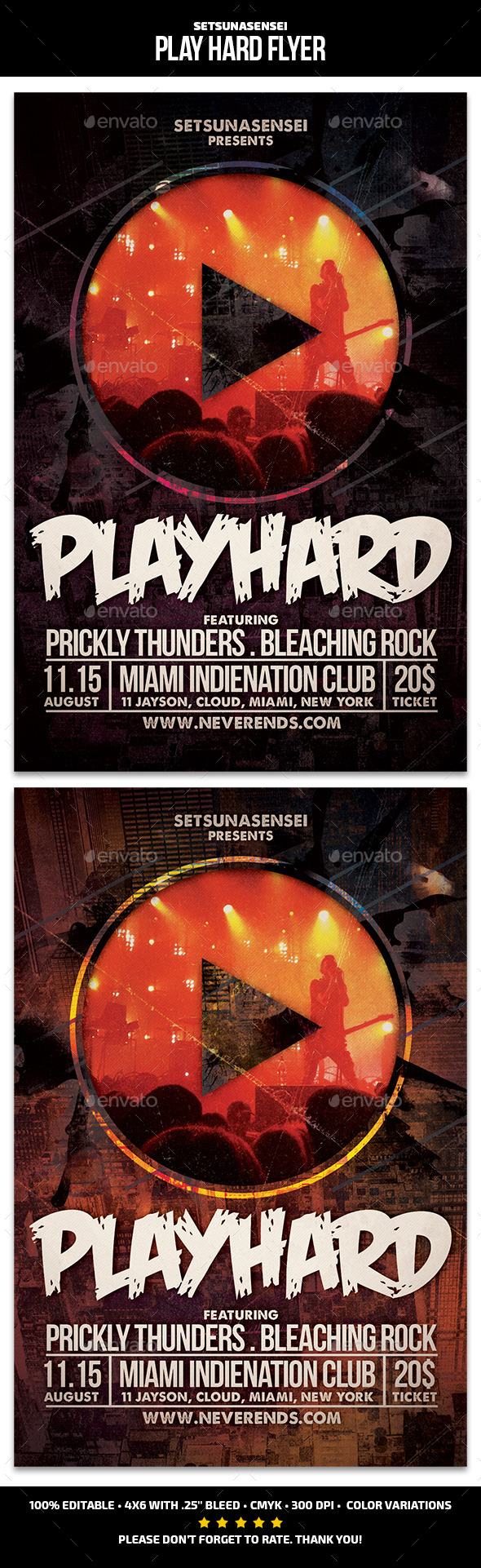 Play Hard Flyer - Concerts Events